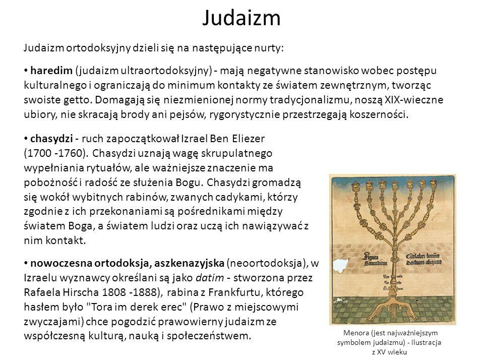 Menora (jest najważniejszym symbolem judaizmu) - ilustracja z XV wieku Judaizm Judaizm ortodoksyjny dzieli się na następujące nurty: haredim (judaizm