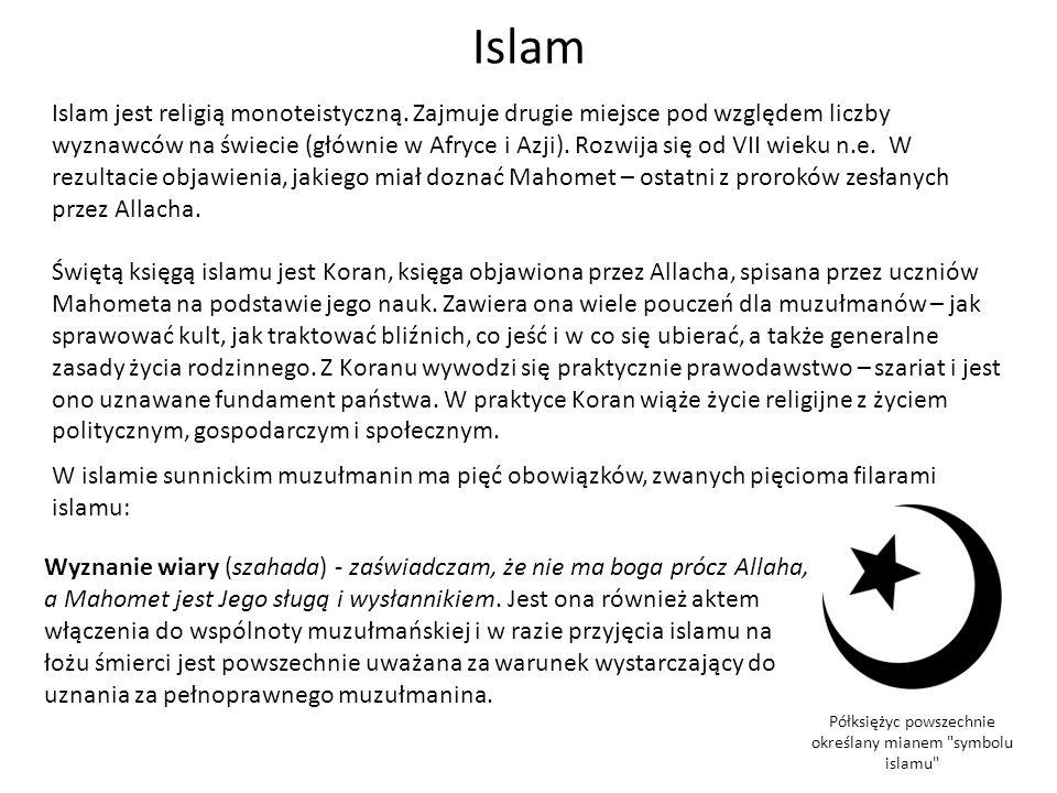 Islam Islam jest religią monoteistyczną. Zajmuje drugie miejsce pod względem liczby wyznawców na świecie (głównie w Afryce i Azji). Rozwija się od VII