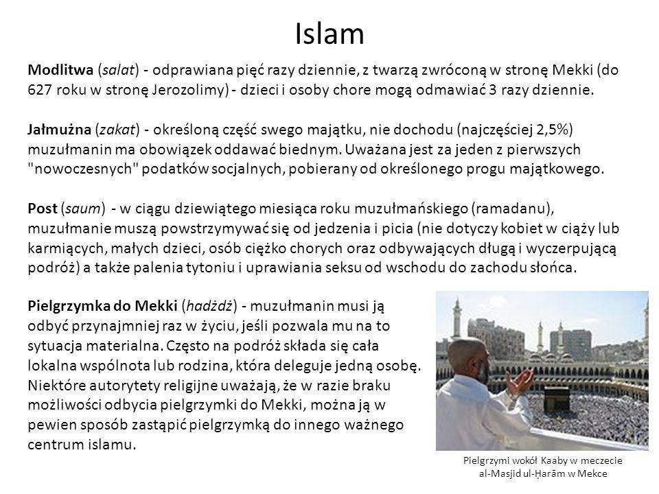 Pielgrzymi wokół Kaaby w meczecie al-Masjid ul-arām w Mekce Islam Modlitwa (salat) - odprawiana pięć razy dziennie, z twarzą zwróconą w stronę Mekki (