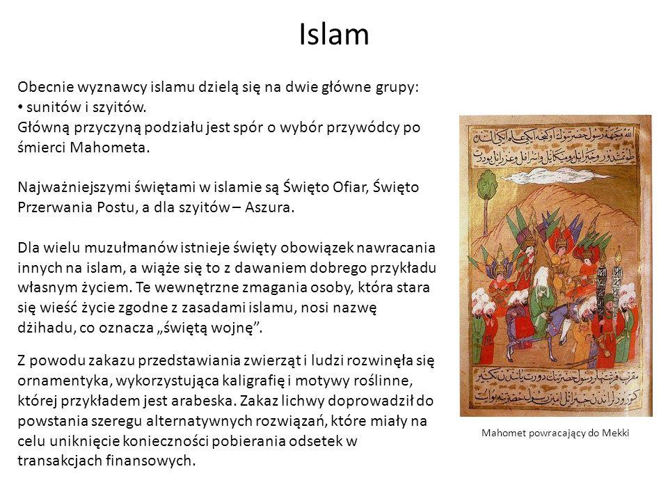 Islam Mahomet powracający do Mekki Obecnie wyznawcy islamu dzielą się na dwie główne grupy: sunitów i szyitów. Główną przyczyną podziału jest spór o w