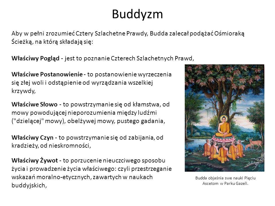 Buddyzm Budda objaśnia swe nauki Pięciu Ascetom w Parku Gazeli. Aby w pełni zrozumieć Cztery Szlachetne Prawdy, Budda zalecał podążać Ośmioraką Ścieżk