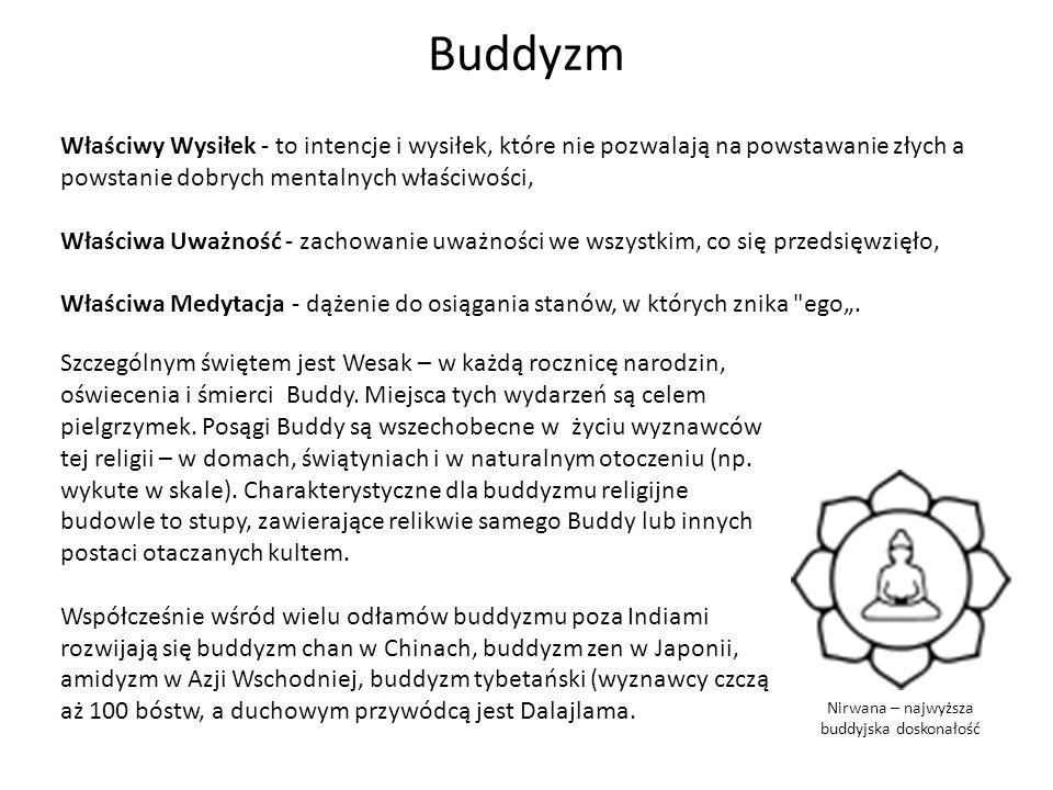 Buddyzm Nirwana – najwyższa buddyjska doskonałość Właściwy Wysiłek - to intencje i wysiłek, które nie pozwalają na powstawanie złych a powstanie dobry