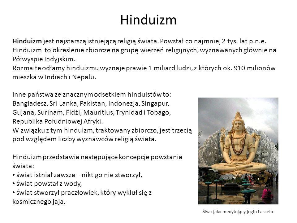 Hinduizm Wyznawcy hinduizmu nie mają ustalonego wyznania wiary, jednak zgadzają się z następującymi tezami: jest nieskończenie wielu bogów, jednak wszyscy oni są wcieleniami Boga wszelkiego początku – Brahmy, wszelkie istoty żywe mają swoje indywidualne dusze – Ataman, dusze uczestniczą w nieskończonym procesie reinkarnacji, przechodzenia po śmierci w inne ciało w kołowrocie życia (samsary), moc, która napędza ten kołowrót życia i śmierci, nazywa się karmą.