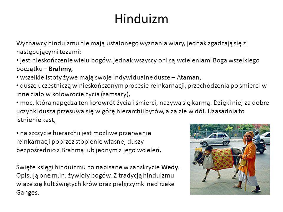 Hinduizm Wyznawcy hinduizmu nie mają ustalonego wyznania wiary, jednak zgadzają się z następującymi tezami: jest nieskończenie wielu bogów, jednak wsz