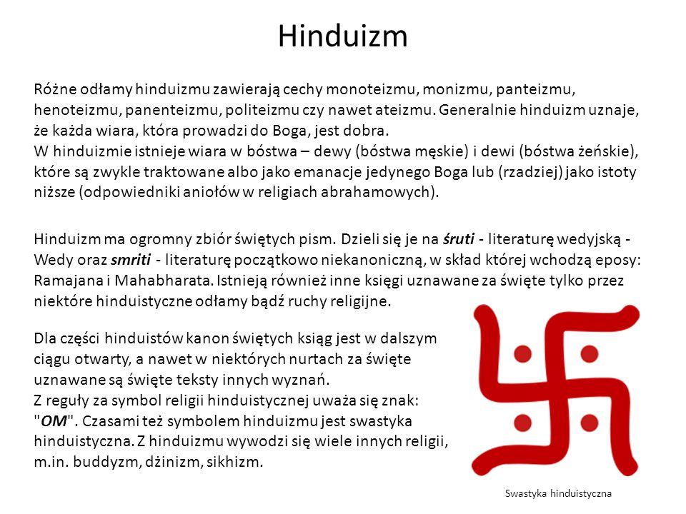Hinduizm Różne odłamy hinduizmu zawierają cechy monoteizmu, monizmu, panteizmu, henoteizmu, panenteizmu, politeizmu czy nawet ateizmu. Generalnie hind