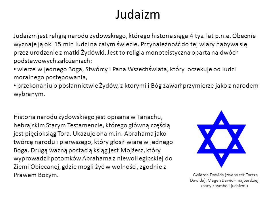 Judaizm Judaizm jest religią narodu żydowskiego, którego historia sięga 4 tys. lat p.n.e. Obecnie wyznaje ją ok. 15 mln ludzi na całym świecie. Przyna