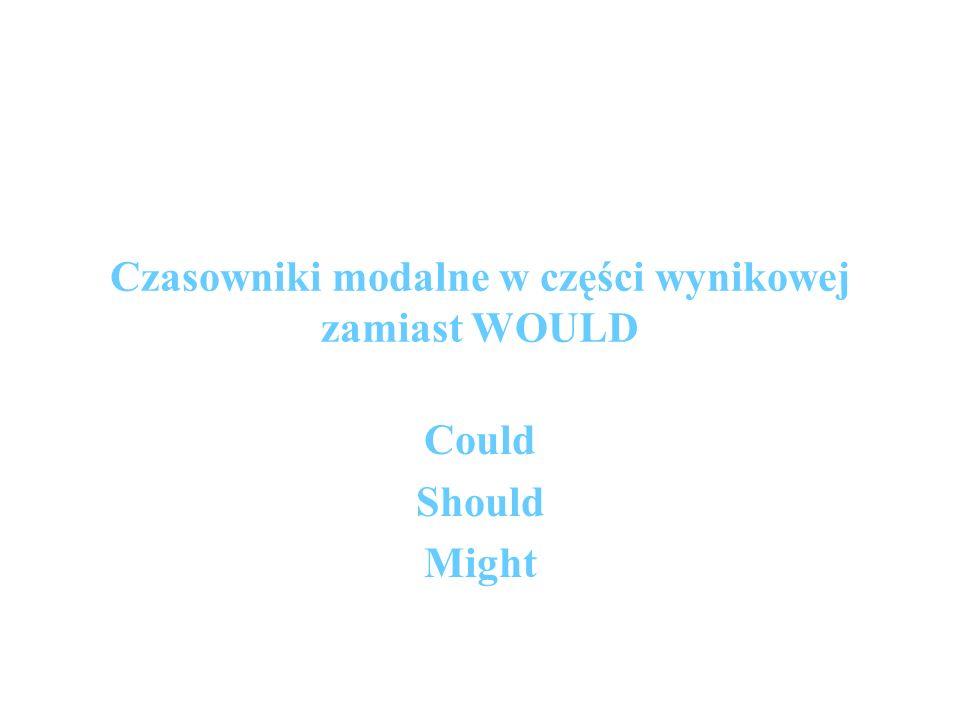 Czasowniki modalne w części wynikowej zamiast WOULD Could Should Might