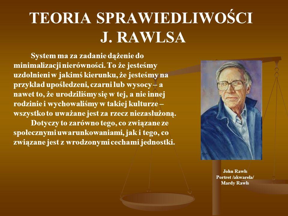 TEORIA SPRAWIEDLIWOŚCI J. RAWLSA System ma za zadanie dążenie do minimalizacji nierówności.