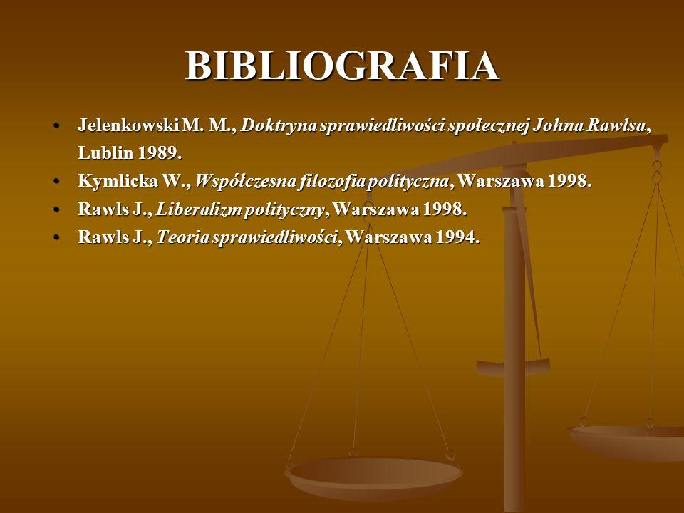 BIBLIOGRAFIA Jelenkowski M. M., Doktryna sprawiedliwości społecznej Johna Rawlsa,Jelenkowski M.