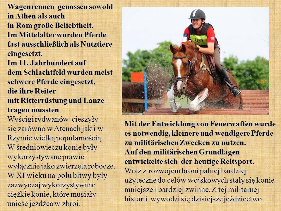 Wagenrennen genossen sowohl in Athen als auch in Rom große Beliebtheit. Im Mittelalter wurden Pferde fast ausschließlich als Nutztiere eingesetzt. Im