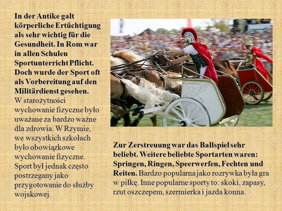 Die Sportarten im antiken Griechenland unterschieden sich nicht wesentlich von denen in Rom.