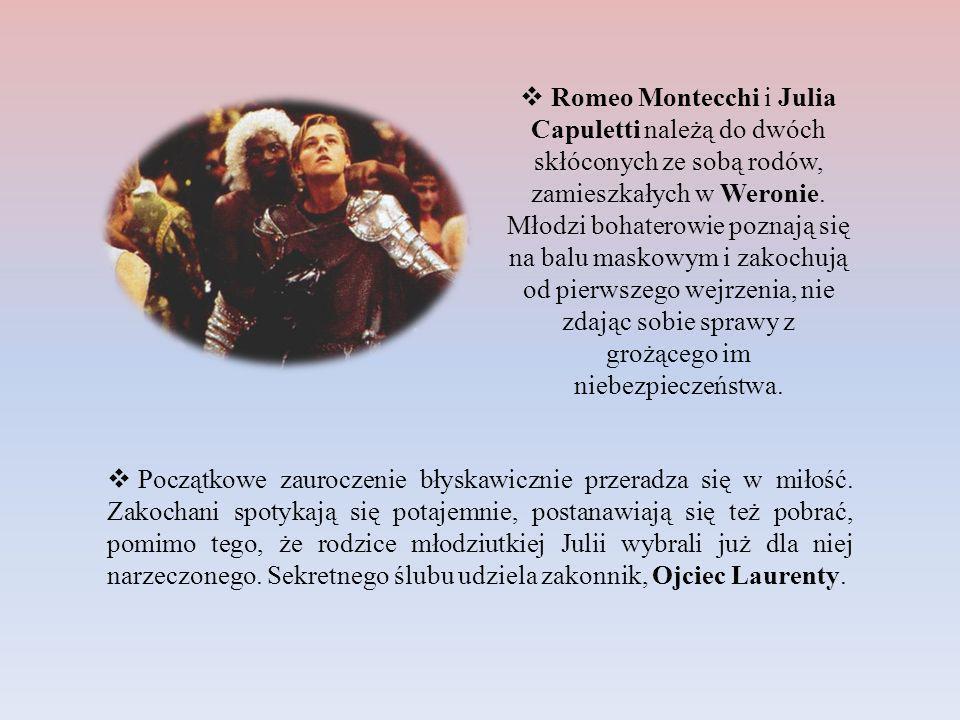 Romeo Montecchi i Julia Capuletti należą do dwóch skłóconych ze sobą rodów, zamieszkałych w Weronie. Młodzi bohaterowie poznają się na balu maskowym i