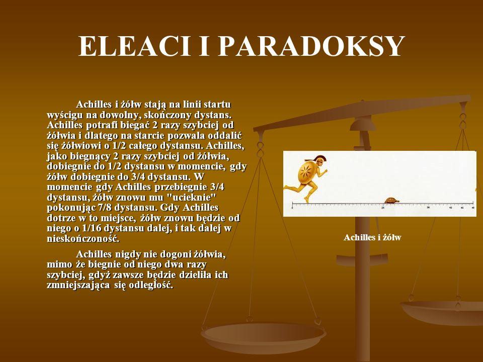 ELEACI I PARADOKSY Achilles i żółw stają na linii startu wyścigu na dowolny, skończony dystans. Achilles potrafi biegać 2 razy szybciej od żółwia i dl
