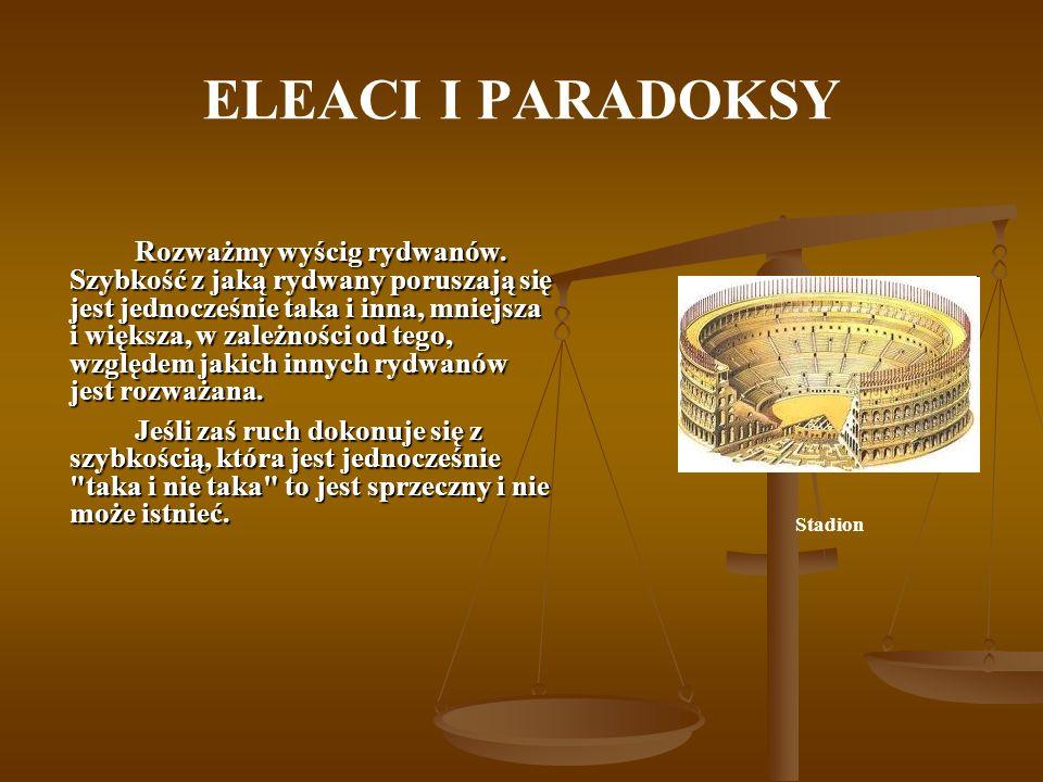 ELEACI I PARADOKSY Rozważmy wyścig rydwanów. Szybkość z jaką rydwany poruszają się jest jednocześnie taka i inna, mniejsza i większa, w zależności od