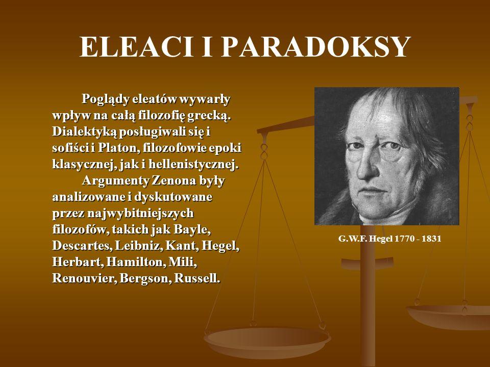 ELEACI I PARADOKSY Poglądy eleatów wywarły wpływ na całą filozofię grecką. Dialektyką posługiwali się i sofiści i Platon, filozofowie epoki klasycznej