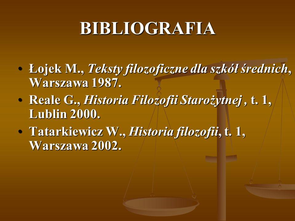 BIBLIOGRAFIA Łojek M., Teksty filozoficzne dla szkół średnich, Warszawa 1987.Łojek M., Teksty filozoficzne dla szkół średnich, Warszawa 1987. Reale G.