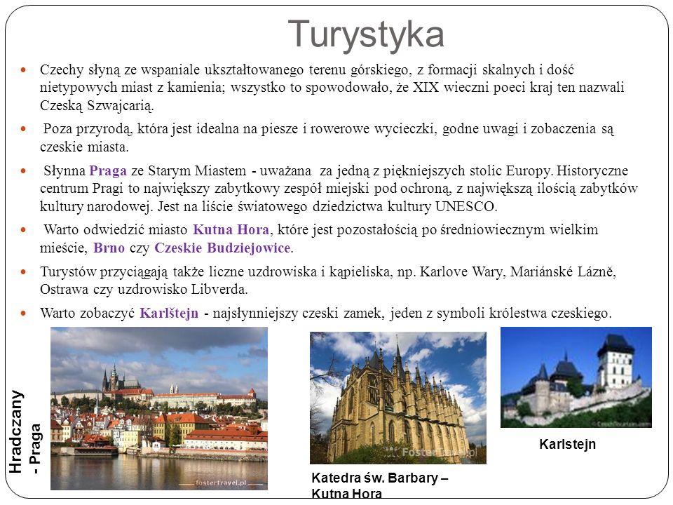 Turystyka Czechy słyną ze wspaniale ukształtowanego terenu górskiego, z formacji skalnych i dość nietypowych miast z kamienia; wszystko to spowodowało, że XIX wieczni poeci kraj ten nazwali Czeską Szwajcarią.