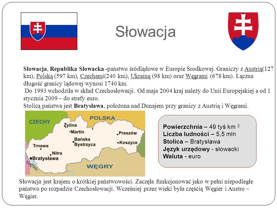 Słowacja Słowacja, Republika Słowacka -państwo śródlądowe w Europie Środkowej.