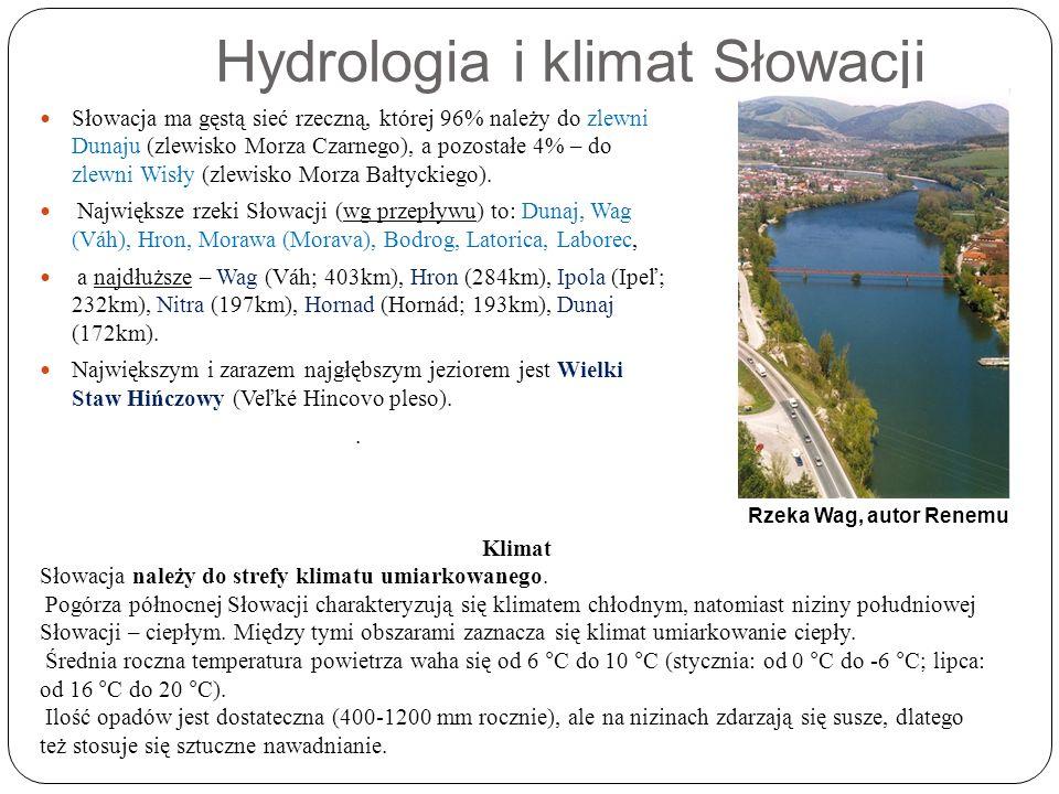 Hydrologia i klimat Słowacji Słowacja ma gęstą sieć rzeczną, której 96% należy do zlewni Dunaju (zlewisko Morza Czarnego), a pozostałe 4% – do zlewni Wisły (zlewisko Morza Bałtyckiego).