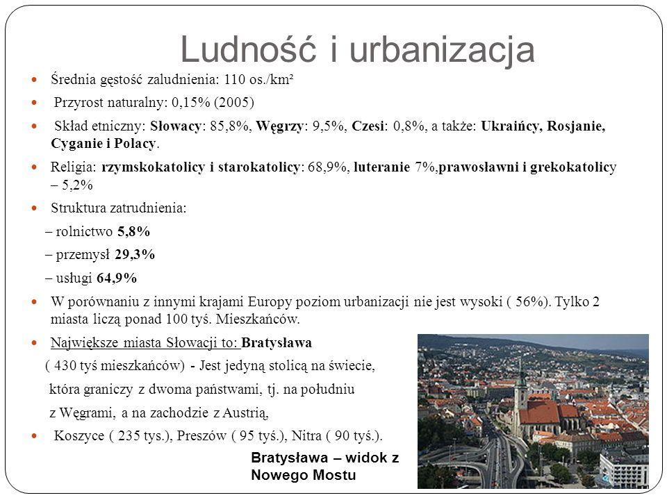 Ludność i urbanizacja Średnia gęstość zaludnienia: 110 os./km² Przyrost naturalny: 0,15% (2005) Skład etniczny: Słowacy: 85,8%, Węgrzy: 9,5%, Czesi: 0,8%, a także: Ukraińcy, Rosjanie, Cyganie i Polacy.