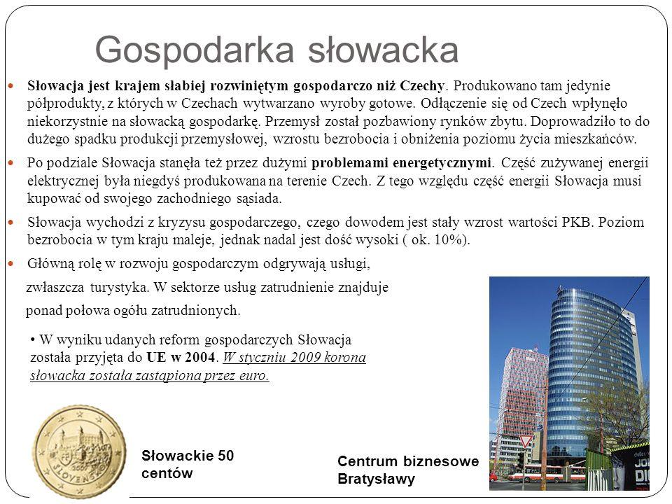 Gospodarka słowacka Słowacja jest krajem słabiej rozwiniętym gospodarczo niż Czechy.