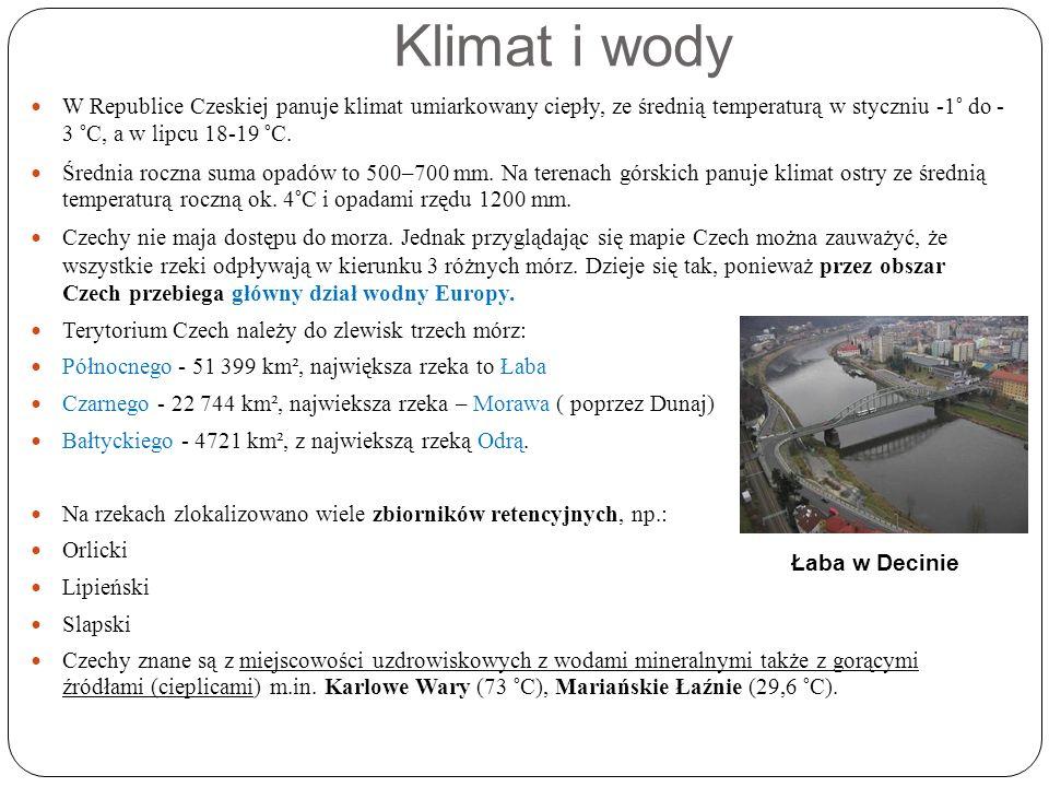Klimat i wody W Republice Czeskiej panuje klimat umiarkowany ciepły, ze średnią temperaturą w styczniu -1° do - 3 °C, a w lipcu 18-19 °C.
