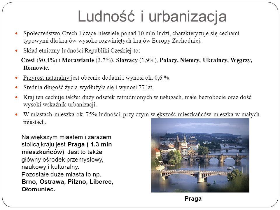 Ludność i urbanizacja Społeczeństwo Czech liczące niewiele ponad 10 mln ludzi, charakteryzuje się cechami typowymi dla krajów wysoko rozwiniętych krajów Europy Zachodniej.