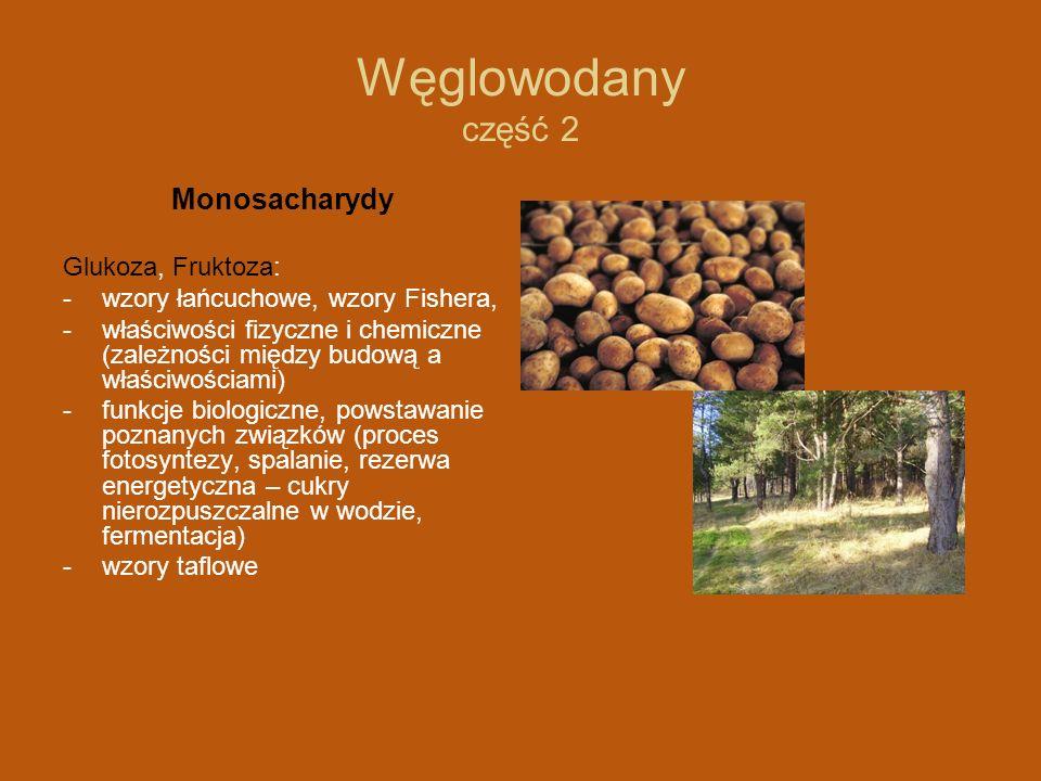 Węglowodany część 2 Monosacharydy Glukoza, Fruktoza: - wzory łańcuchowe, wzory Fishera, -właściwości fizyczne i chemiczne (zależności między budową a właściwościami) -funkcje biologiczne, powstawanie poznanych związków (proces fotosyntezy, spalanie, rezerwa energetyczna – cukry nierozpuszczalne w wodzie, fermentacja) -wzory taflowe