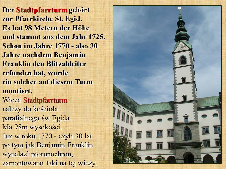 Der Stadtpfarrturm gehört zur Pfarrkirche St. Egid.