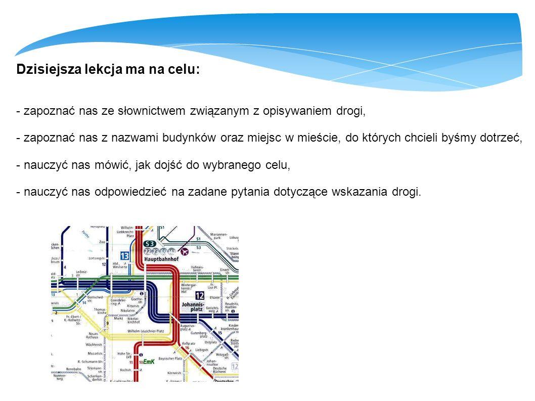 Dzisiejsza lekcja ma na celu: - zapoznać nas ze słownictwem związanym z opisywaniem drogi, - zapoznać nas z nazwami budynków oraz miejsc w mieście, do
