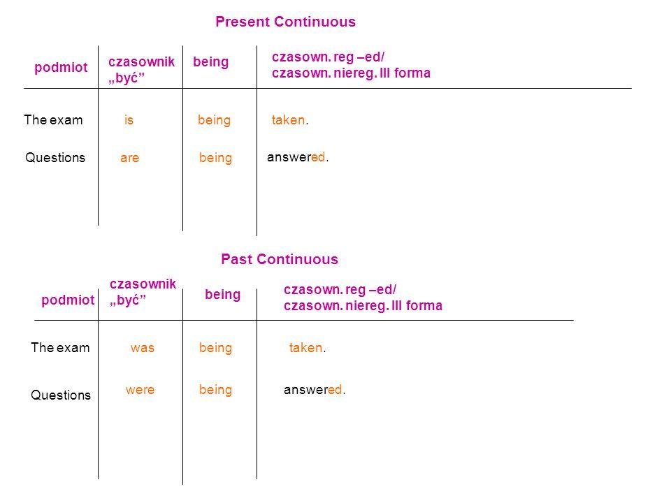 Present Continuous podmiot czasownik być being czasown. reg –ed/ czasown. niereg. III forma The examisbeingtaken. Questionsarebeing answered. Past Con