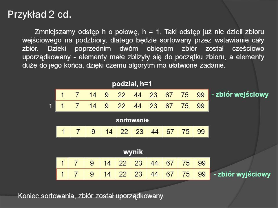 Przykład 2 cd. Zmniejszamy odstęp h o połowę, h = 1. Taki odstęp już nie dzieli zbioru wejściowego na podzbiory, dlatego będzie sortowany przez wstawi