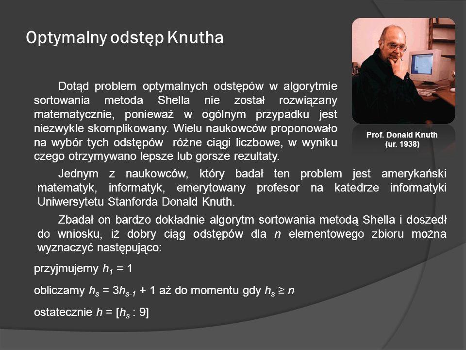 Optymalny odstęp Knutha Jednym z naukowców, który badał ten problem jest amerykański matematyk, informatyk, emerytowany profesor na katedrze informaty