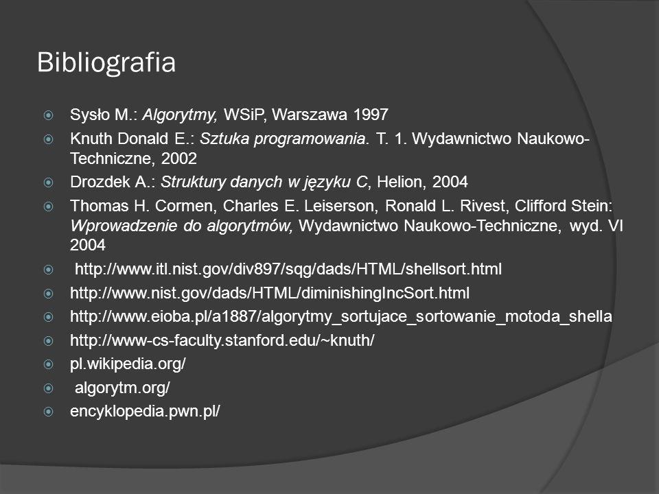 Bibliografia Sysło M.: Algorytmy, WSiP, Warszawa 1997 Knuth Donald E.: Sztuka programowania. T. 1. Wydawnictwo Naukowo- Techniczne, 2002 Drozdek A.: S