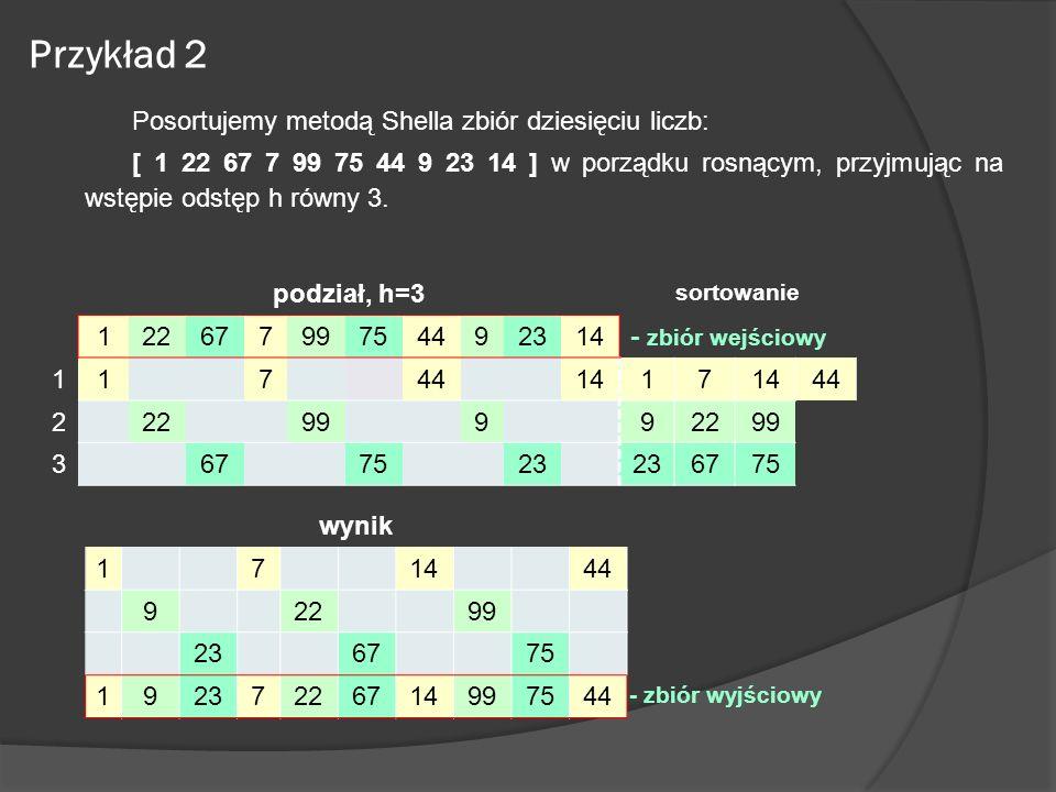 Przykład 2 Posortujemy metodą Shella zbiór dziesięciu liczb: [ 1 22 67 7 99 75 44 9 23 14 ] w porządku rosnącym, przyjmując na wstępie odstęp h równy