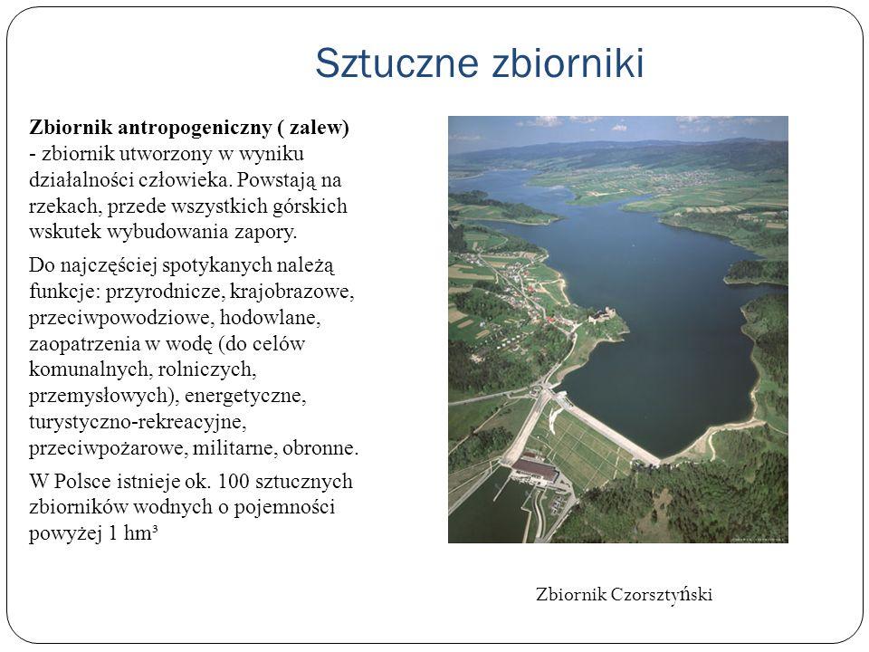 Sztuczne zbiorniki Zbiornik antropogeniczny ( zalew) - zbiornik utworzony w wyniku działalności człowieka. Powstają na rzekach, przede wszystkich górs