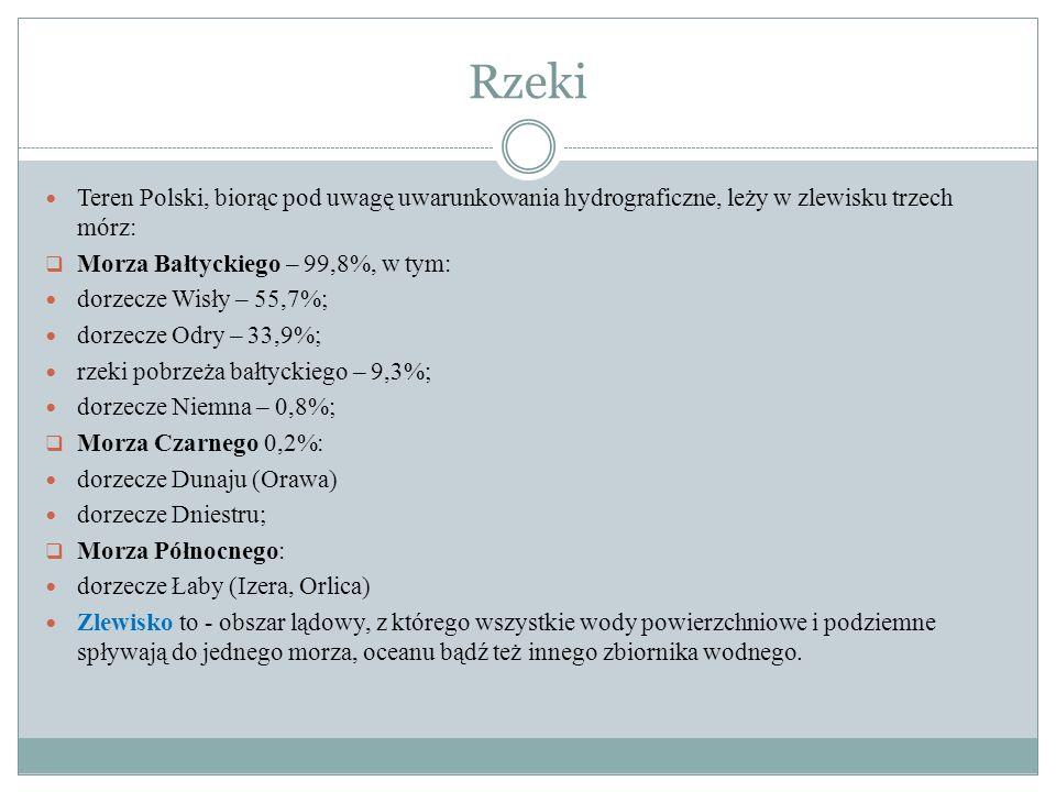Rzeki Teren Polski, biorąc pod uwagę uwarunkowania hydrograficzne, leży w zlewisku trzech mórz: Morza Bałtyckiego – 99,8%, w tym: dorzecze Wisły – 55,