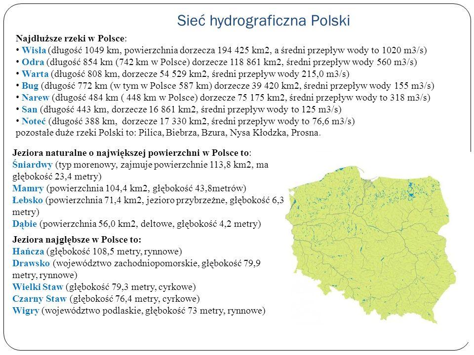Sieć hydrograficzna Polski Najdłuższe rzeki w Polsce: Wisła (długość 1049 km, powierzchnia dorzecza 194 425 km2, a średni przepływ wody to 1020 m3/s)