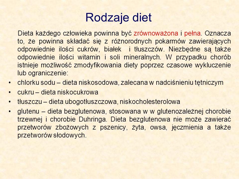 Rodzaje diet Dieta każdego człowieka powinna być zrównoważona i pełna.