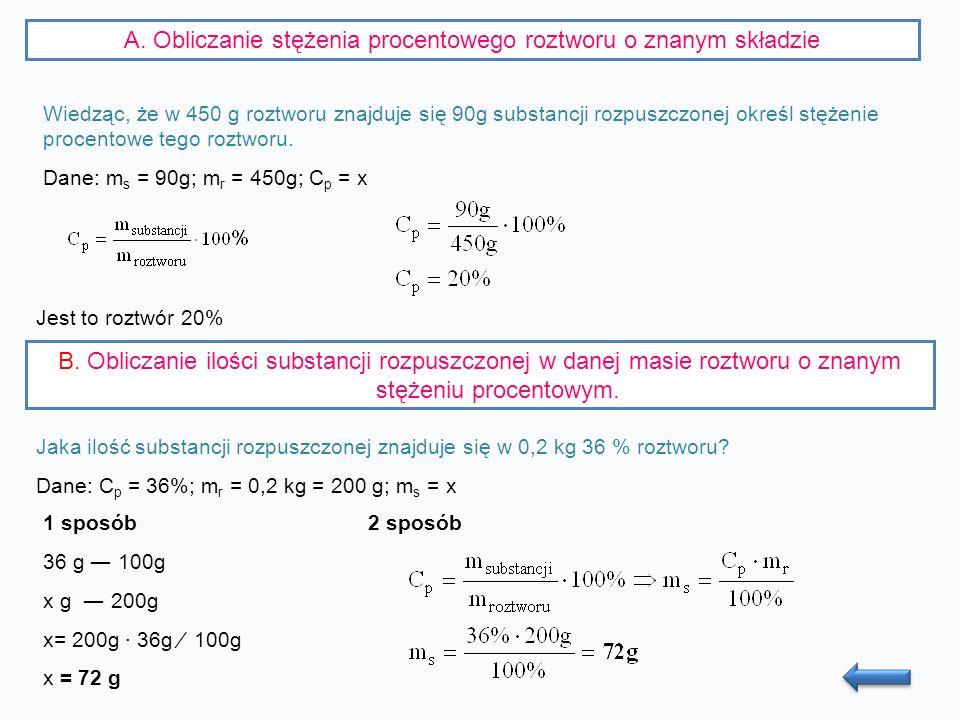 A. Obliczanie stężenia procentowego roztworu o znanym składzie Wiedząc, że w 450 g roztworu znajduje się 90g substancji rozpuszczonej określ stężenie