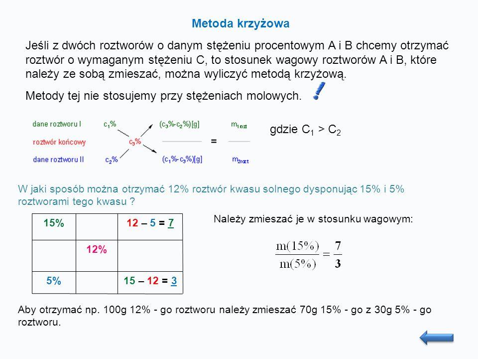 Metoda krzyżowa Jeśli z dwóch roztworów o danym stężeniu procentowym A i B chcemy otrzymać roztwór o wymaganym stężeniu C, to stosunek wagowy roztworów A i B, które należy ze sobą zmieszać, można wyliczyć metodą krzyżową.