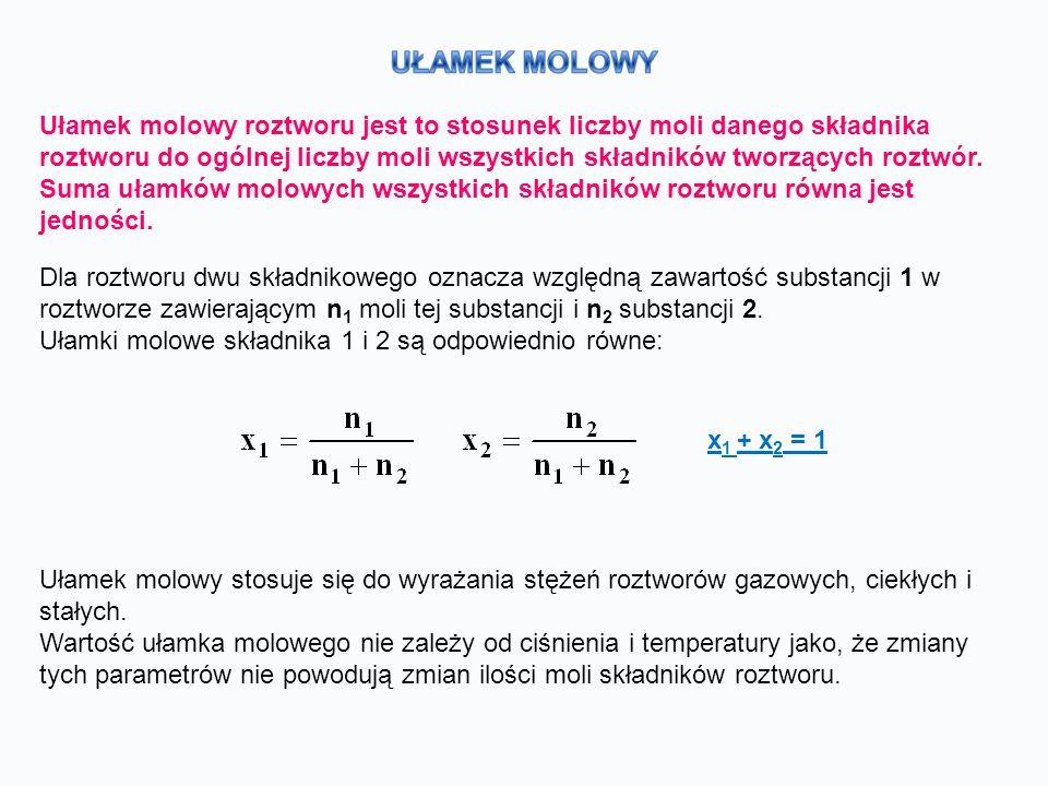 Ułamek molowy roztworu jest to stosunek liczby moli danego składnika roztworu do ogólnej liczby moli wszystkich składników tworzących roztwór.