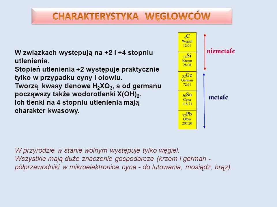 W związkach występują na +2 i +4 stopniu utlenienia. Stopień utlenienia +2 występuje praktycznie tylko w przypadku cyny i ołowiu. Tworzą kwasy tlenowe