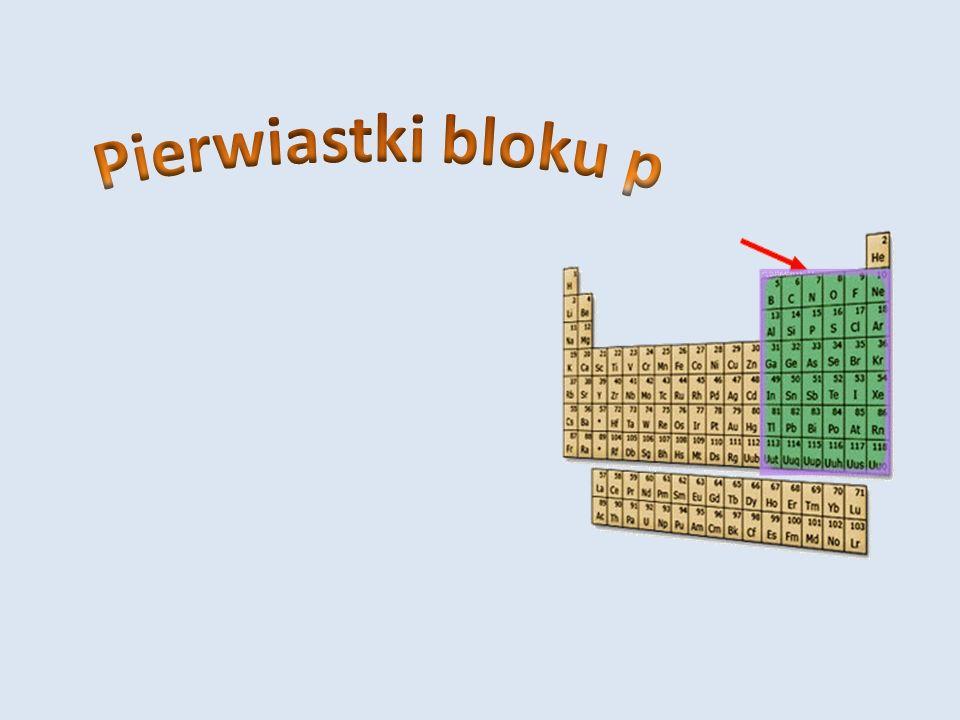 Spis treści Ogólna charakterystyka pierwiastków bloku p Charakterystyka borowców (13) Charakterystyka węglowców (14) Charakterystyka azotowców (15) Charakterystyka tlenowców (16) Charakterystyka fluorowców (17) Charakterystyka helowców (18)