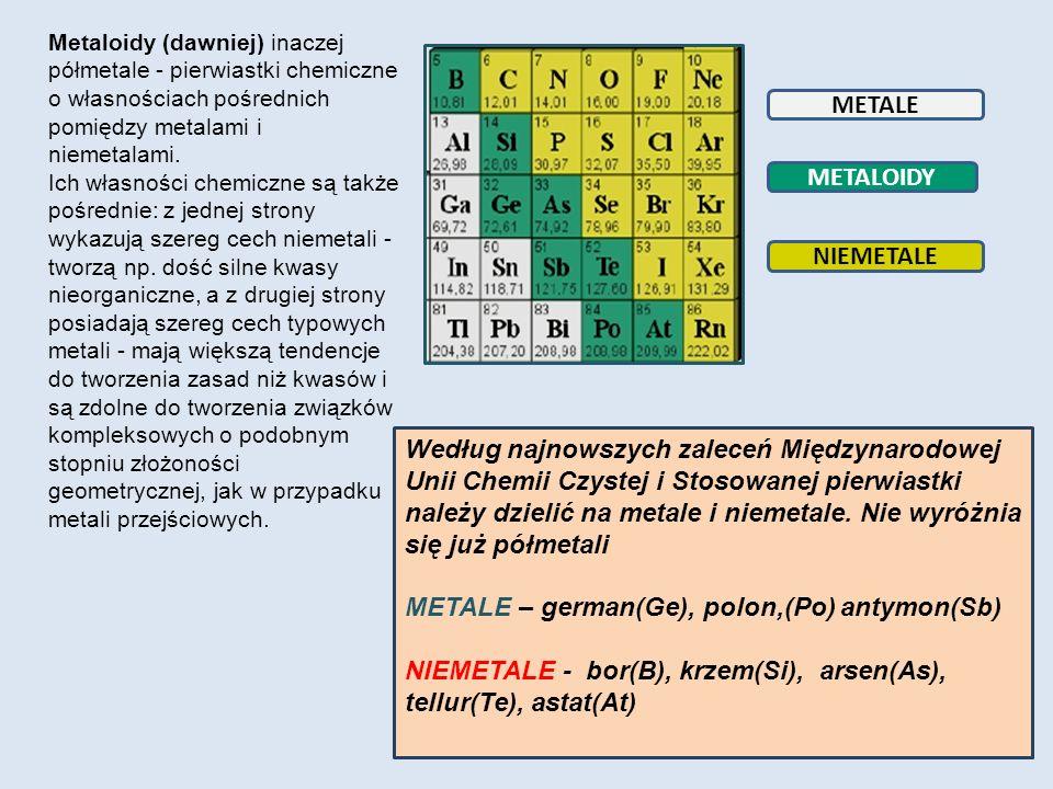 METALE METALOIDY NIEMETALE Metaloidy (dawniej) inaczej półmetale - pierwiastki chemiczne o własnościach pośrednich pomiędzy metalami i niemetalami. Ic