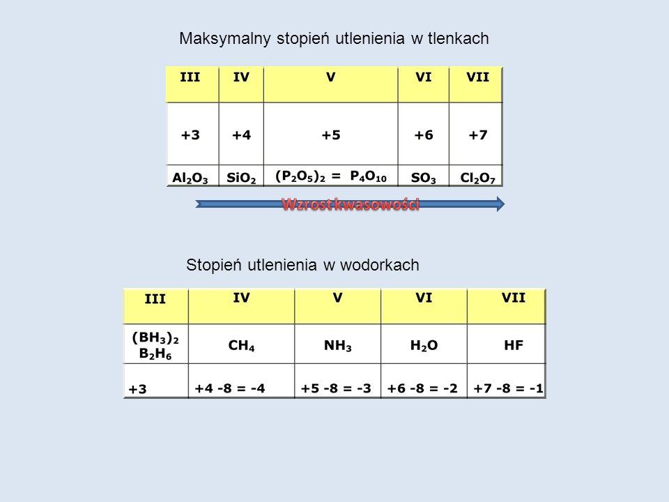 Maksymalny stopień utlenienia w tlenkach Stopień utlenienia w wodorkach