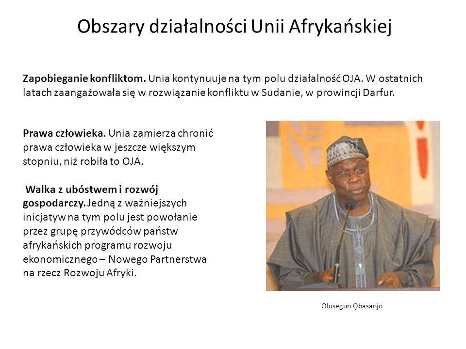Obszary działalności Unii Afrykańskiej Olusegun basanjo Zapobieganie konfliktom.