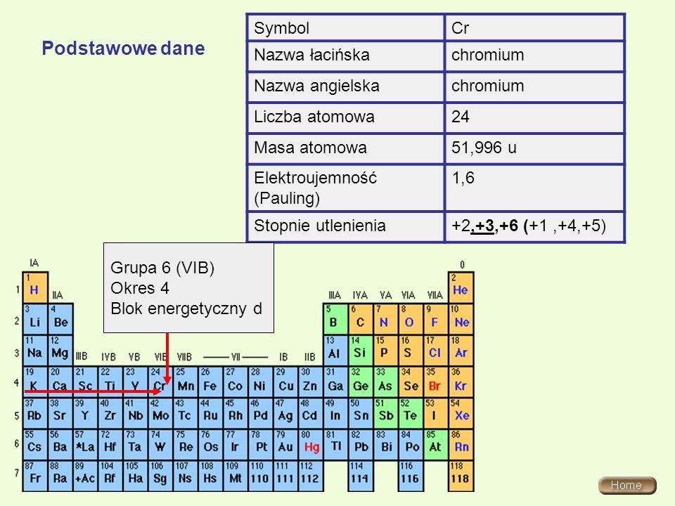 Podstawowe dane SymbolCr Nazwa łacińskachromium Nazwa angielskachromium Liczba atomowa24 Masa atomowa51,996 u Elektroujemność (Pauling) 1,6 Stopnie ut