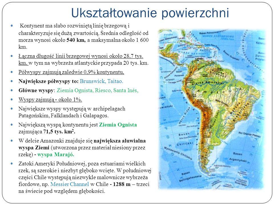 Rzeźba terenu Ameryka Południowa jest kontynentem o przewadze terenów nizinnych, średnia wysokość 655 m n.p.m.