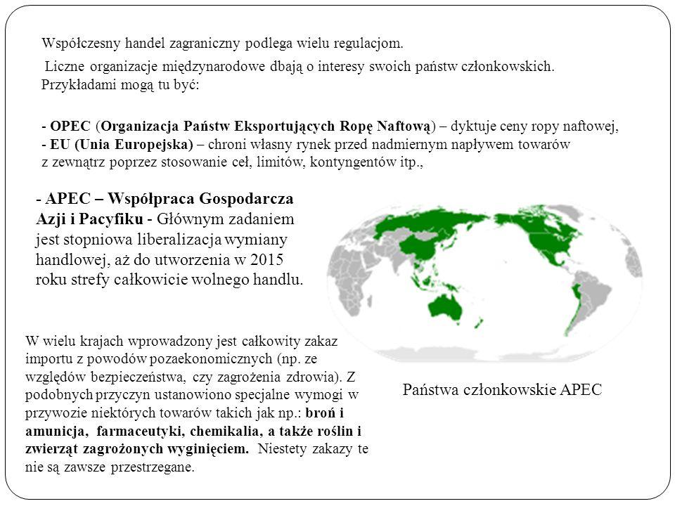 Współczesny handel zagraniczny podlega wielu regulacjom. Liczne organizacje międzynarodowe dbają o interesy swoich państw członkowskich. Przykładami m